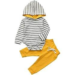K-youth Ropa Bebe Niño Otoño Invierno Infantil Recien Nacido Body Bebé Niña Manga Larga Blusas Bebé Mono Rayas Mameluco con Capucha + Pantalone 2pcs Trajes Conjuntos 0-24 Mes(Amarillo, 6-12 Meses)