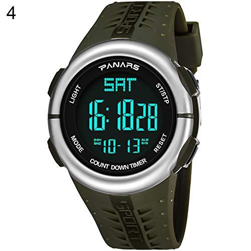Huhuswwbin orologio sportivo moda impermeabile uomini conto alla rovescia allarme outdoor digital display sport orologio da polso - army green