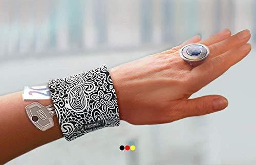 Armreif Safe Paisley Muster schwarz weiß blau Geldbörse Handgelenk Tasche Festivaltasche Tanztasche Festival Konzert zu Salsakleid Samba Kostüm Abendkleid Etuikleid originelle Geschenkidee ()