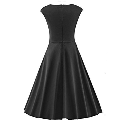 LUOUSE Damen Audrey Hepburn 50s Retro Vintage Bubble Skirt Rockabilly Swing Evening Kleider V041-Schwarz