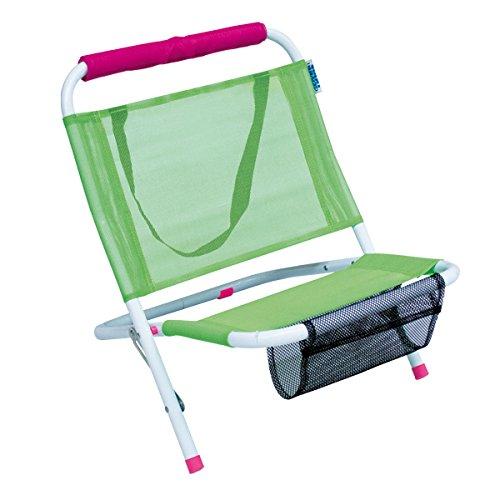 Bakaji spiaggina mare sedia a sdraio prendisole spiaggia in acciaio pieghevole con tracolla e sacca portariviste 57x47x51cm enrico coveri (verde)