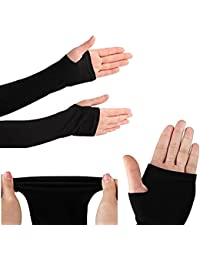 Tex Home Black Arm Sleeves Gloves,Gym Gloves,Sports Gloves For Sun Protection or cooling Compression(sleeves,sleeves for men,arm sleeves for men,hand sleeves for men) Set Of 2 Pcs (Black)