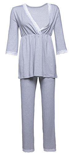 Happy mama. premaman vestaglia/camicia notte/pigiama venduti separatamente. 591p (luce grigio melange, it 48, 2xl)