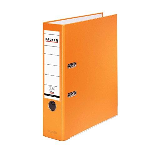 Falken PP-Color Kunststoff-Ordner 8 cm breit DIN A4 orange Ringordner Aktenordner Briefordner Büroordner Plastikordner Schlitzordner