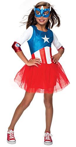 Rubie's Offizielles Captain America + Maske Mädchen Kostüm Marvel Superheld Kinder Kinder ()