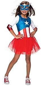 Disfraz Oficial del Capitán América + máscara para niñas de Marvel Superhéroe para niños