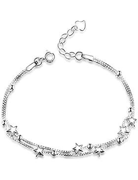 Elegantes Armband mit kleinen Sternen und Perlen, 925erSterlingsilber, Damenarmband