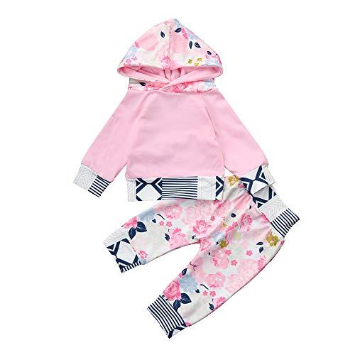 Neugeborenes Baby Kleidung Lange Hülse Kapuzenpullover 2PCs Nachtwäsche Babybekleidung Baby Girl Floral Hoodie Tops + Pants 2Pcs Outfits Kleidung Set 0-24 Monate Felicove