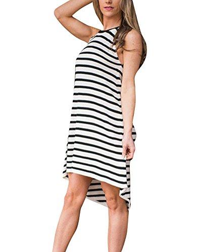Femme Sans Manche Stripe Robe Irrégulière Lâche Robe Comme Image