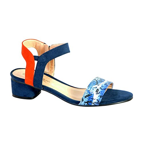 Sandale Petit Talon The Divine Factory TDF2927 Bleu Bleu