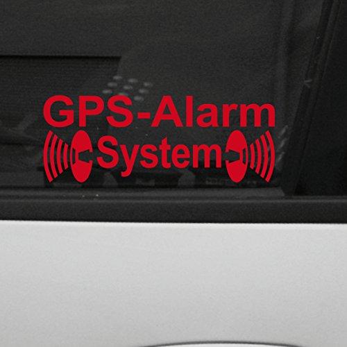 Original GreenIT GPS Alarm System Aufkleber die cut decal Auto Fahrzeug Tür Fenster Scheibe Tattoo Folie (2 Stk. rot invers)
