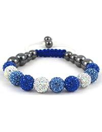 10-Ball Royal Blue/Light Blue/Multi-White Bead Shamballa Bracelet on White & Blue String Ideal Gift for Christmas Birthdays