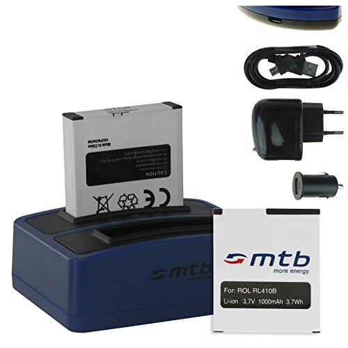 2x Akku + Dual-Ladegerät (Netz+Kfz+USB) für Rollei RL410B / Rollei Action Cam 230, 240, 400, 410 / Maginon AC-800W