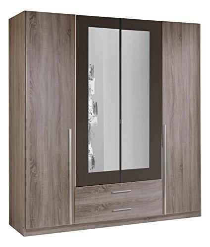 Wimex 167453 Kleiderschrank, 4-türig mit zwei Schubkästen und zwei Spiegeltüren, Korpus Montana Eiche Nachbildung, 180 x 198 x 58 cm, lavafarbig