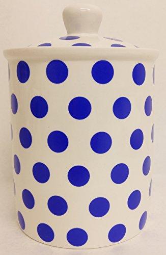 Bocal de rangement Bleu à pois bleu en porcelaine fine décorée à la main au Royaume-Uni Livraison gratuite au Royaume-Uni