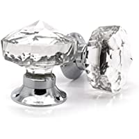 Pair Of Crystal Cut Faceted Clear Glass Door Knobs. Large Glass Turning  Mortice Door Handles For Decorating Your Internal Doors.