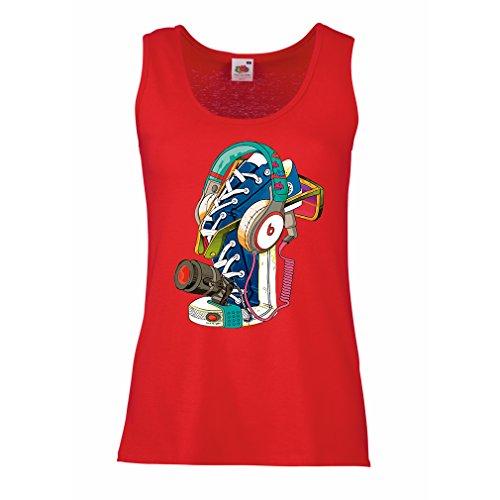 Serbatoio,Maglietta Senza Maniche Femminile Sneakers di Street Art con Cuffie: Musica, Party, Hip Hop. Stile Hipster, Moda Alternativa Rosso Multicolore
