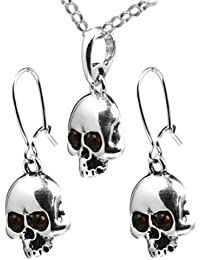 Amber Sterling Silver Pirate Skull Pendant Earrings Rolo Chain Set 46cm