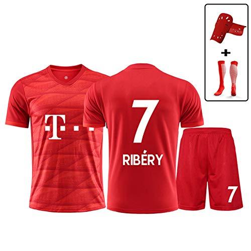 Haoshangzh55 Kinder Fußball-Uniform Bayern München Franck Ribery 7Th Fußball Set Kinder Shortsleeved Jersey und Shorts Jungen Trainingsanzüge,3XS
