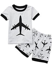 Conjuntos para Lindo Guapo Niños, Sonnena Niños Manga Corta avión Estampado Camisas Verano Tops + elástico Pantalones Cortos Trajes Verano de Dos Piezas