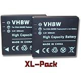 2 batteries vhbw 600mAh pour appareil photo Panasonic DMC-FX500, DMC-FX55, DMC-FS3 remplace VW-VBJ10 / VW-VBJ10E, DMW-BCE10 / DMW-BCE10E / CGA-S008