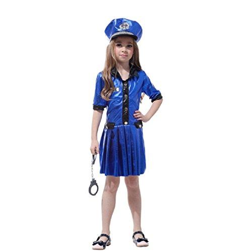 JT-Amigo Kinder Mädchen Polizei Kostüm für Halloween, Fasching, Karneval Gr. 134/140