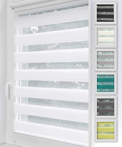 Home-Vision Duo Rollo Klemmfix, Doppelrollo ohne Bohren mit Klämmträgern, Rollos für Fenster und Türen (Weiß, B130cm x H150cm)