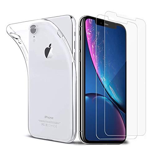 iLiebe Hülle iPhone XR + Panzerglas iPhone XR Set, [1 Hülle+2 Panzerglas] Schutzfolie Folie Glas 9H Bildschirmschutzfolie TPU Silikon Case Cover für iPhone XR