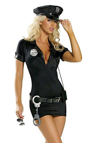 Disfraz de policía para mujeres - Mujer policía - Negro - Gorro, vestido, cinturón, insignia, esposas - S (36/38)