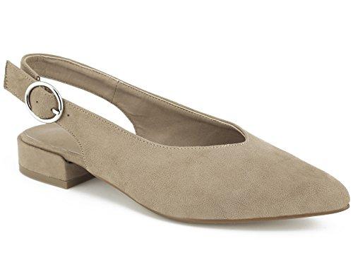 MaxMuxun Damen Pumps Spitz Slingback Flach Pointed Toe Schuhe Party Schuhe Braun Größe 37EU Leder Ankle Strap Pumps
