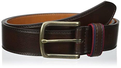 Tommy Hilfiger Herrengürtel Leder Handgearbeitet dunkelbraun Größen 34,36,38,40,42 Breite 3,5cm Handmade (44) (Messing Tommy Hilfiger)