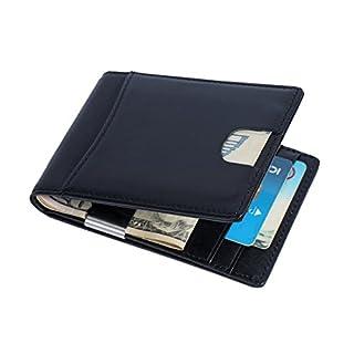 Geldbörse mit Echt-Leder für Herren, Geldklammer Handgemacht mit RFID Schutz, Brieftasche mit Geldscheinklammer, Kreditkartenetui mit Geldclip, Geldbeutel mit Geldspange, Portemonnaie mit Dollarclip