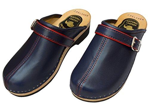 Relaxen Damen Clogs Holzschuhe Leder Holz Pantoletten Schwarz Blau Modell VK32 Blau