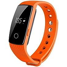 COOSA ID107 Activity Tracker , Fitness Tracker, Braccialetto Monitoraggio Battito Cardiaco e Rilevamento,Wireless Activity Wristband , Touchscreen Oled Intelligente Sport Braccialetto per Android e IOS (5Arancia, ID107)