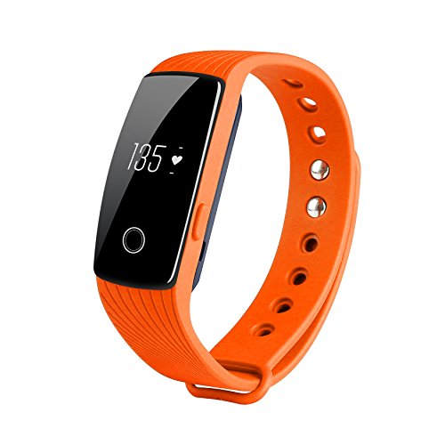 COOSA ID107 Activity Tracker , Fitness Tracker, Braccialetto Monitoraggio Battito Cardiaco e Rilevamento,Wireless Activity Wristband , Touchscreen Oled Intelligente Sport Braccialetto per Android e IOS (5Arancia, ID107)