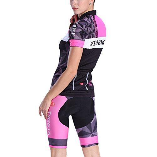 Veobike Damen Radtrikot Set Kurzarm Fahrradtrikot Suit für Reiten Radfahren Radsport (Mehrfabrig, Tag 2XL: EU XL)