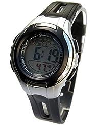 Montre femme quartz digitale noir sport chrono alarme etanche