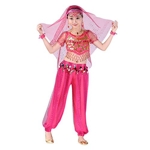Lvguang Mädchen Bauchtanz Set Tanz Kurzarm Top & Tanz Schmale Hosen & Kopf Schnalle & Tanz Schleier & Halskette & Ohrringe & Armband (Rosa, Asia - Kostüm Aller Nationen
