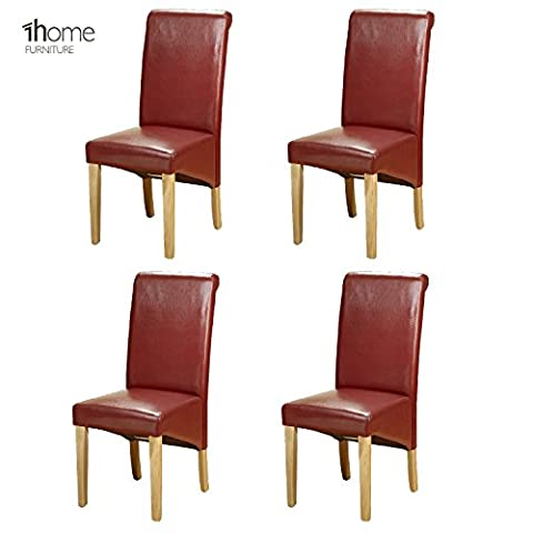 4 x 1home Leather Red Dining Chair w Oak Finish Wood Legs Roll Top High Back