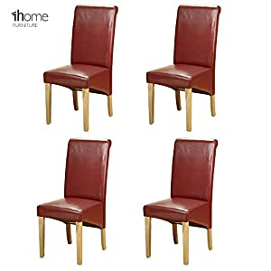1home Set of 4 Faux Leather Dining Chairs Roll Top High Back with Solid Wooden Legs Oak Finish for Home & Commercial…
