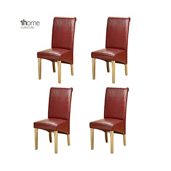 1home 4 x Leather Dining Chair w Oak Finish Wood Legs Roll Top High Back 410av0dS2AL