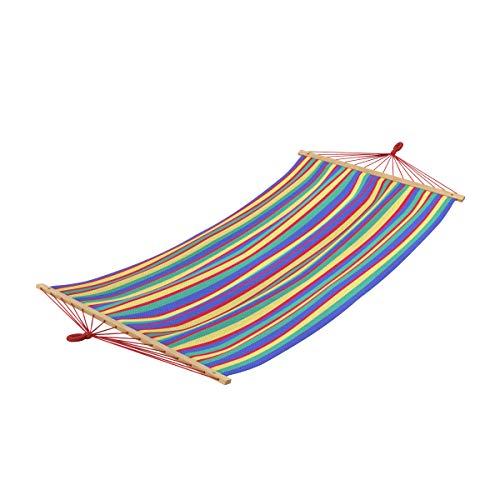 Ampel 24 Outdoor Hängematte Rainbow, Single Stabhängematte bunt gestreift, Querholz chinesische Kirsche, Breite ca. 120 cm, Belastbarkeit 120 kg