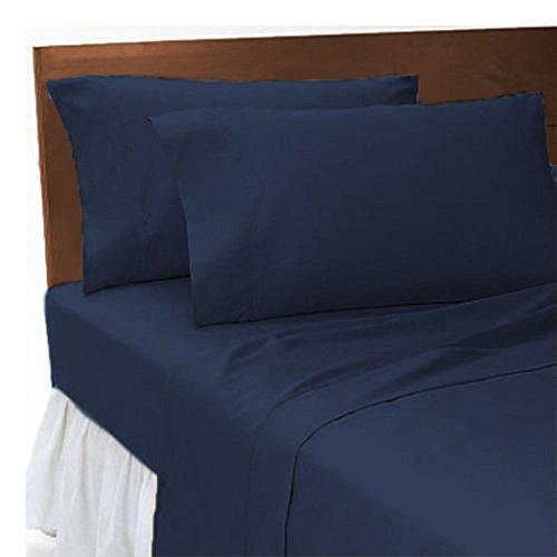 Fadenzahl 300 Baumwoll-satin Bettwäsche (Luxus Hotel Qualität T300100% gekämmte ägyptische Baumwolle Flache Bettwäsche feine Qualität in verschiedene Farben und Größen, marineblau, Super King)