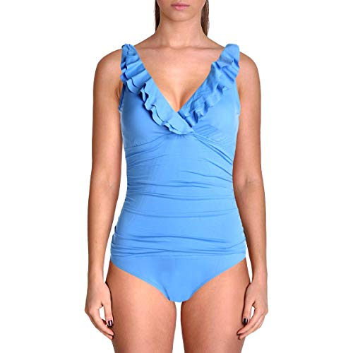 Lauren Ralph Lauren Damen Badeanzug, gerüscht, Einteiler - Blau - 36
