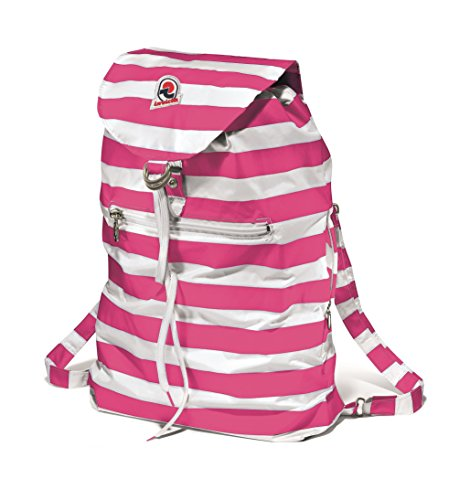 Invicta Mini Sac Next Nylon Backpack with Stripes (Blue, Pink, Red, Yellow) (Pink)