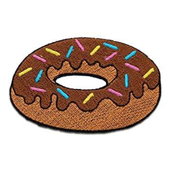 Aufnäher Bügelbild Donut Essen mit Streusel braun 7,3x5,3cm