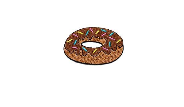 Aufnäher Donut Essen mit Streusel 7,3x5,3cm Bügelbild pink