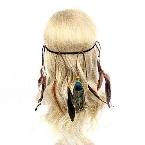 Sharplace Damen Stirnbänder Frauen Feder Quasten Gürtel Stirnband Haarband Haarschmuck Kopfschmuck Haar Hippie Boho Schmuck - Dunkelbraun, 46cm