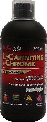 BioTech USA L-Carnitine + Chrome 500ml Pear Apple, 1er Pack (1 x 500 ml) (Chrome Apple)
