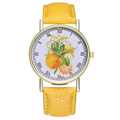 Armbanduhren männer Herrenuhr Herren Watch Male Fruit Illustration Leather Strap Watch Men\'s Women\'s Quartz SportArmbanduhr Uhren armbanduh Gelb
